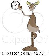Cartoon Moose Pointing At A Wall Clock