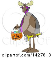 Clipart Of A Cartoon Moose Trick Or Treating In A Vampire Halloween Costume Royalty Free Vector Illustration