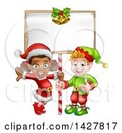 Clipart Of Happy Christmas Elves Under A Blank Sign Royalty Free Vector Illustration by AtStockIllustration