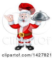 Christmas Santa Claus Chef Holding A Cloche Platter And Gesturing Perfect Or Ok