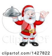 Christmas Santa Claus Holding A Cloche Platter And Gesturing Perfect Or Ok