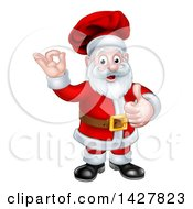 Christmas Santa Claus Chef Giving A Thumb Up And Gesturing Perfect Or Ok