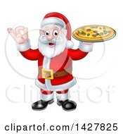 Clipart Of A Christmas Santa Claus Holding A Pizza And Gesturing Perfect Or Ok Royalty Free Vector Illustration