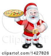 Clipart Of A Christmas Santa Claus Holding A Pizza And Giving A Thumb Up Royalty Free Vector Illustration