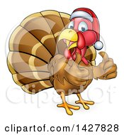 Clipart Of A Cartoon Christmas Turkey Bird Wearing A Santa Hat And Giving Two Thumbs Up Royalty Free Vector Illustration