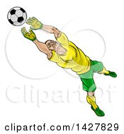 Clipart Of A Cartoon Male Goal Keeper Soccer Player In A Green And Yellow Uniform Sacing A Goal Royalty Free Vector Illustration by AtStockIllustration