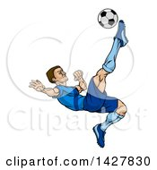 Clipart Of A Cartoon Male Soccer Player In A Blue Uniform Kicking A Ball In Mid Air Royalty Free Vector Illustration by AtStockIllustration