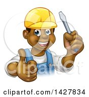Cartoon Happy Black Male Electrician Wearing A Hardhat Giving A Thumb Up And Holding A Screwdriver
