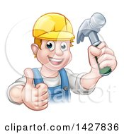 Clipart Of A Cartoon Happy White Male Carpenter Holding A Hammer And Giving A Thumb Up Royalty Free Vector Illustration