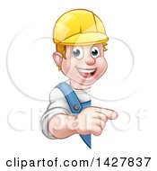 Clipart Of A Cartoon Happy White Male Worker Pointing Around A Sign Royalty Free Vector Illustration