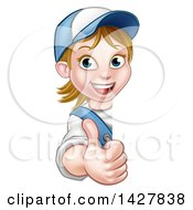 Clipart Of A Cartoon Happy White Female Worker Holding Up Around A Sign Royalty Free Vector Illustration