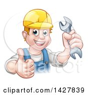 Clipart Of A Cartoon Happy White Male Mechanic Holding A Spanner Wrench And Giving A Thumb Up Royalty Free Vector Illustration