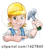 Clipart Of A Cartoon Happy White Female Carpenter Holding Up A Hammer And Pointing Royalty Free Vector Illustration by AtStockIllustration