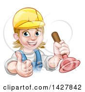 Clipart Of A Cartoon Happy White Female Plumber Wearing A Hard Hat Giving A Thumb Up And Holding A Plunger Royalty Free Vector Illustration