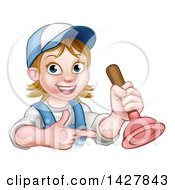 Poster, Art Print Of Cartoon Happy White Female Plumber Holding A Plunger And Pointing