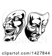 Clipart Of Black And White Comedy And Tragedy Theater Masks Royalty Free Vector Illustration