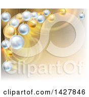 Clipart Of A Background With Swooshes And 3d Suspended Silver And Gold Christmas Bauble Ornaments Royalty Free Vector Illustration by AtStockIllustration