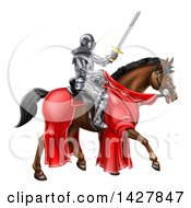 Clipart Of A 3d Full Armored Medieval Knight On A Brown Horse Holding A Sword Royalty Free Vector Illustration
