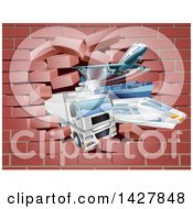 Clipart Of 3d Cargo Logistics Modes Trains Planes Big Rig Trucks And Ships Breaking Through A Brick Wall Royalty Free Vector Illustration by AtStockIllustration