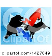 Clipart Of A Silhouetted Fighting Bear Vs Bull Stock Market Design With Arrows Over A Graph Royalty Free Vector Illustration