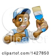 Clipart Of A Cartoon Happy Black Male Painter Holding Up A Brush And Pointing Royalty Free Vector Illustration by AtStockIllustration