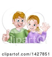 Clipart Of A Cartoon Casual Young Caucasian Couple Waving And Giving A Thumb Up Royalty Free Vector Illustration by AtStockIllustration