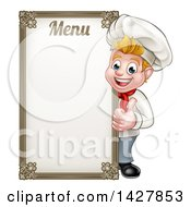 Clipart Of A Happy Young Blond White Male Chef Giving A Thumb Up Around A Menu Board Royalty Free Vector Illustration