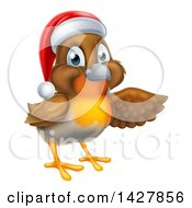 Clipart Of A Christmas Robin In A Santa Hat Pointing To The Right Royalty Free Vector Illustration by AtStockIllustration