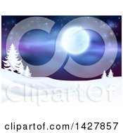 Clipart Of A Christmas Background Of A Snowy Winter Landscape With Silhouetted Evergreen Trees And A Full Moon In A Starry Sky Royalty Free Vector Illustration by AtStockIllustration