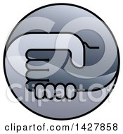 Clipart Of A Round Gradient Handshake Logo Icon Royalty Free Vector Illustration