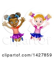 Clipart Of Happy White And Black Girls Jumping Royalty Free Vector Illustration