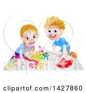 Poster, Art Print Of Cartoon Happy White Girl Kneeling And Painting Artwork And Boy Playing With A Toy Car