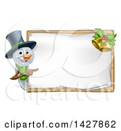 Clipart Of A Happy Snowman Wearing A Christmas Top Hat And Pointing Around A Blank Sign With Bells Royalty Free Vector Illustration by AtStockIllustration