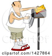 Cartoon Chubby Caucasian Man Reading A Letter At His Mailbox