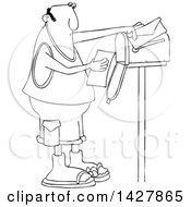 Clipart Of A Cartoon Black And White Lineart Chubby Man Reading A Letter At His Mailbox Royalty Free Vector Illustration