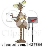 Cartoon Moose Opening A Letter By A Mailbox