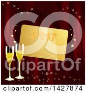 Clipart Of A Gold New Year 2017 Tag Over 3d Champagne Glasses On Red With Stars Royalty Free Vector Illustration by elaineitalia