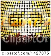 Clipart Of A Silhouetted Crowd Of Hands Over A 3d Disco Ball And New Year 2017 Royalty Free Vector Illustration