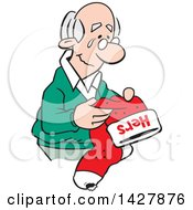 Clipart Of A Cartoon Nostalgic Old Caucasian Widower Man Holding A Hers Christmas Stocking And Thinking Of His Late Wife Royalty Free Vector Illustration