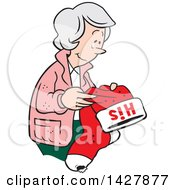 Clipart Of A Cartoon Nostalgic Old Caucasian Widow Woman Holding A His Christmas Stocking And Thinking Of Her Late Husband Royalty Free Vector Illustration