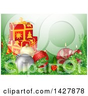 Clipart Of A Christmas Background With 3d Gifts Baubles Branches Holly And Candles On Green Royalty Free Vector Illustration by dero