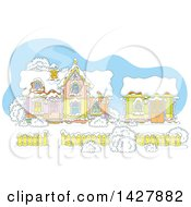 Clipart Of The Cartoon House And Work Shop Of Santa Claus In A Winter Wonderland Royalty Free Vector Illustration