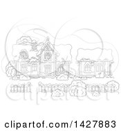 Clipart Of The Black And White Lineart House And Work Shop Of Santa Claus In A Winter Wonderland Royalty Free Vector Illustration