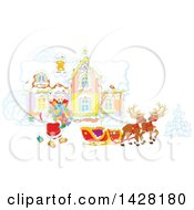 Clipart Of Reindeer Waiting As Santa Loads His Sleigh With Christmas Gifts In Front Of His Home Royalty Free Vector Illustration