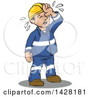 Clipart Of A Hot Sweaty Worker Wiping His Forhead Royalty Free Vector Illustration