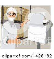 Clipart Of A Worker Checking A Sheet Royalty Free Vector Illustration