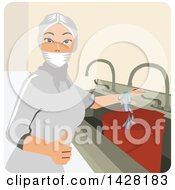 Clipart Of A Female Worker Filling A Bucket Of Water Royalty Free Vector Illustration