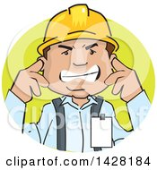 Clipart Of A Frustrated Male Worker Wearing A Hardhat And Plugging His Ears Royalty Free Vector Illustration
