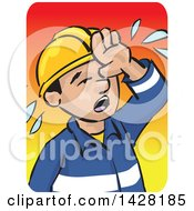Clipart Of A Hot Sweaty Worker Wiping His Forhead Over A Gradient Background Royalty Free Vector Illustration