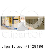Clipart Of An Industrial Worker In A Factory Royalty Free Vector Illustration